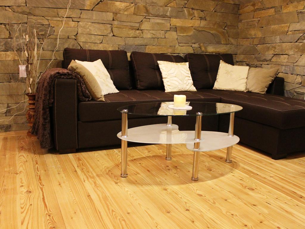 salon z rozkładaną kanapą i stolikiem