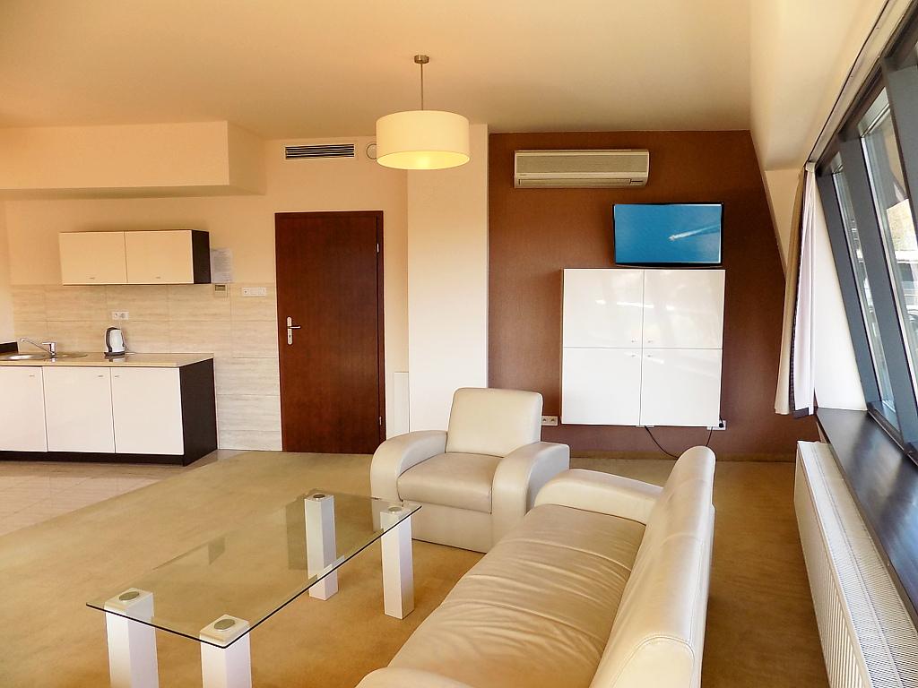 salon z kanapą, fotelem, stolikiem i TV