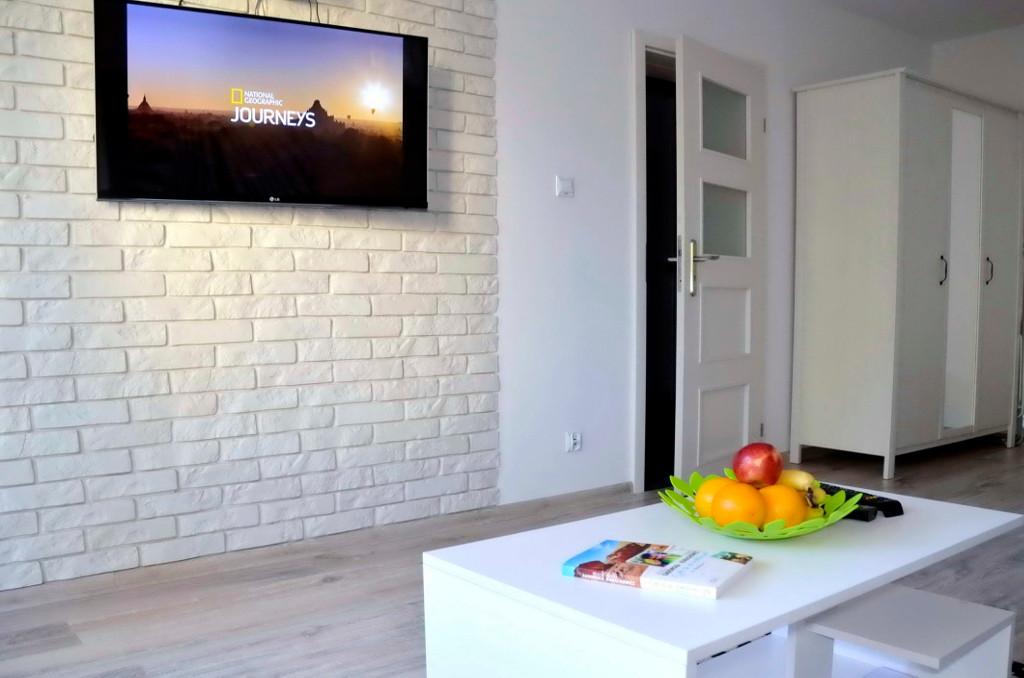 salon (sypialnia I) z TV i stolikiem kawowym